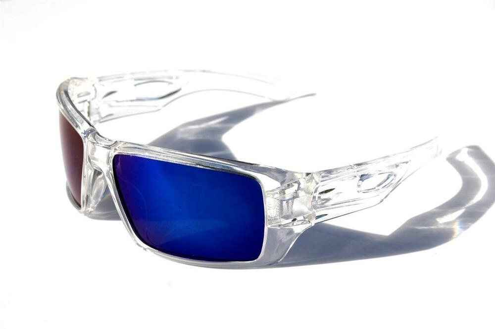 Men Oversized Polarized Sunglasses clear frame with blue ...