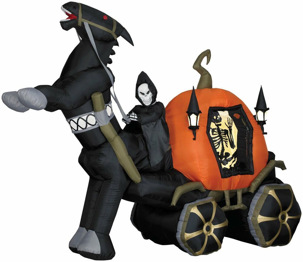 Halloween animated grim reaper pumpkin carriage sound for Animated halloween decoration