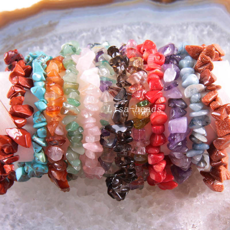 Natural chip beads multi color shell coral agate turquoise stretch