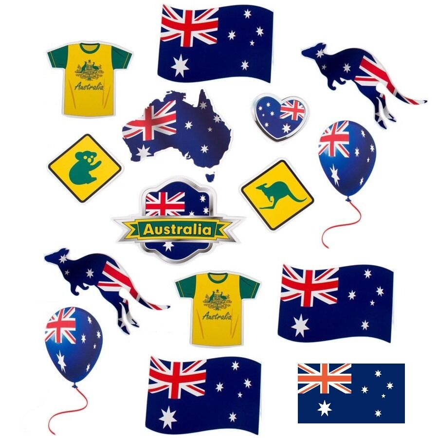 Pack of 15 australia day cutout decorations australian for Australian decoration ideas