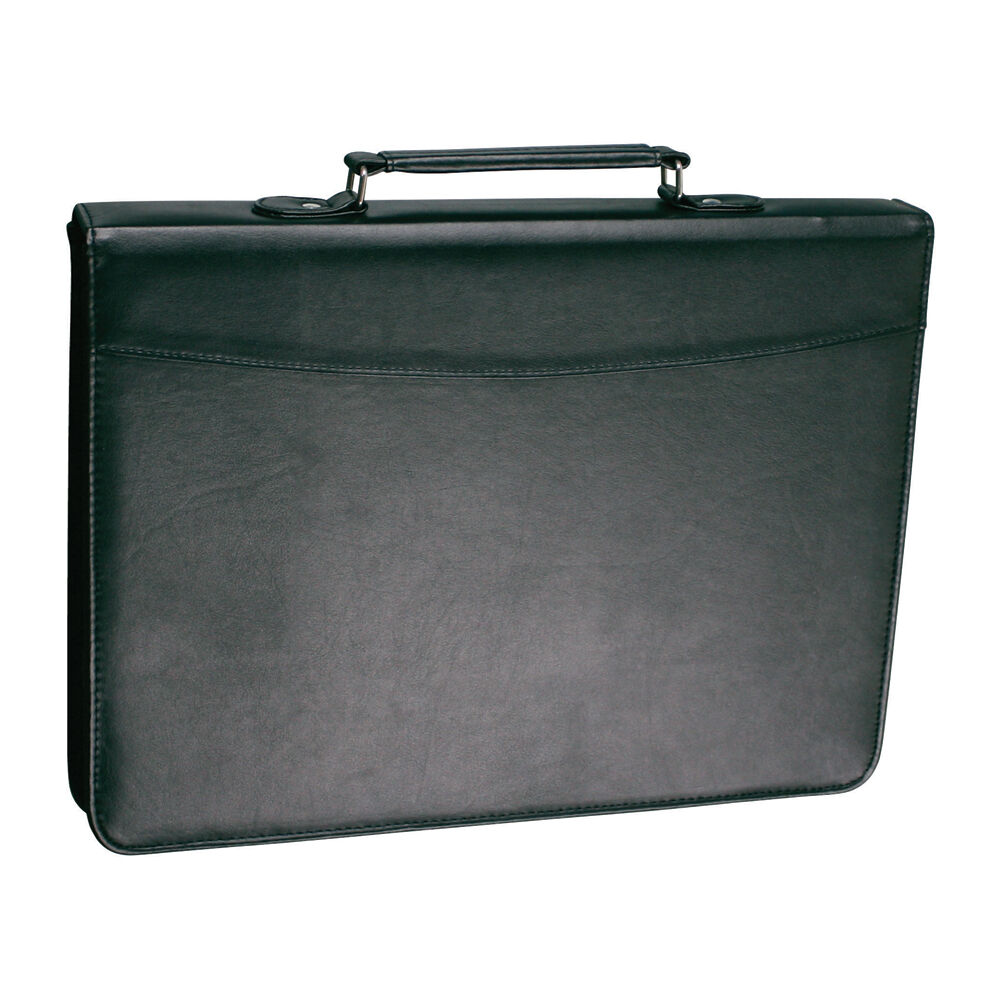 A4 RING BINDER Conference Folder PU LEATHER LOOK ZIPPED