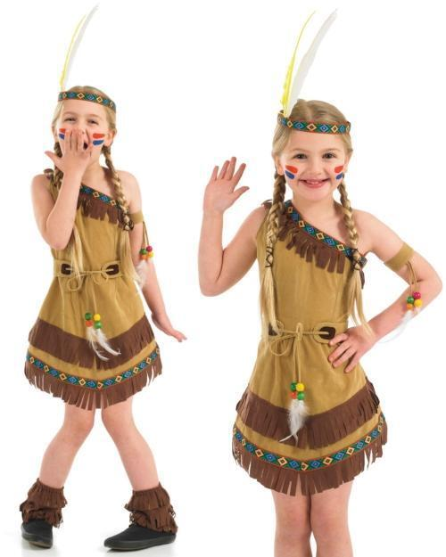 Girls Native American Indian Squaw Book Day Week Fancy Dress Costume Outfit 4-12 | eBay