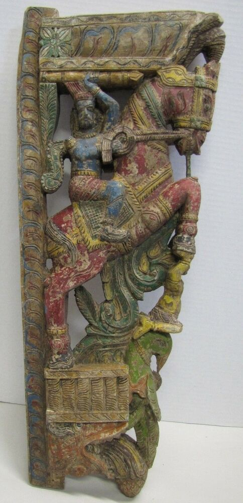 Antique hand carved asian wood art panel figural dragon