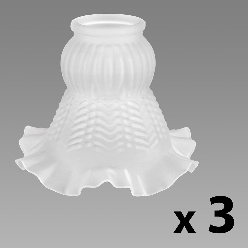 Set Of 3 Frosted White Glass Petal Replacement Ceiling