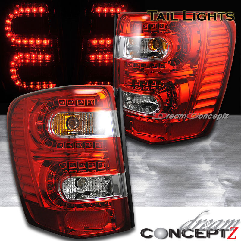 for 99 04 jeep grand cherokee led tail lights red clear laredo limited overland ebay. Black Bedroom Furniture Sets. Home Design Ideas