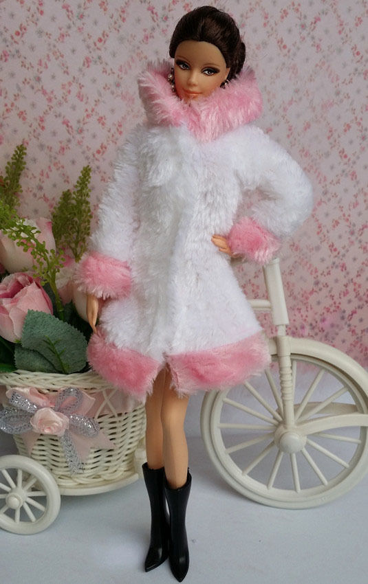 Lovely Fashion Winter Fur Coats Clothes Outfit For Barbie