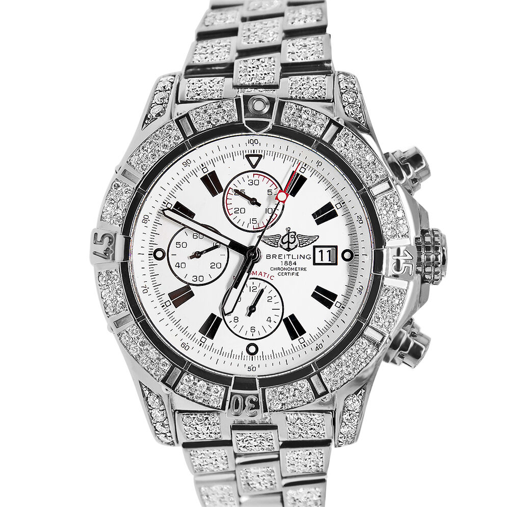 Breitling super avenger diamonds bezel bracelet mens watch display model ebay for Men decagonal bezel bracelet