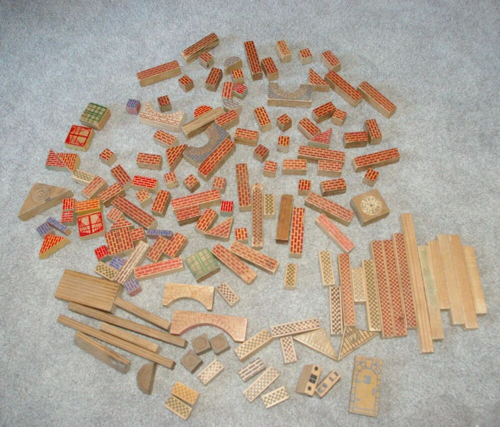 Lot of 144 antique wood wooden building blocks w applied for Where to buy wood blocks for crafts