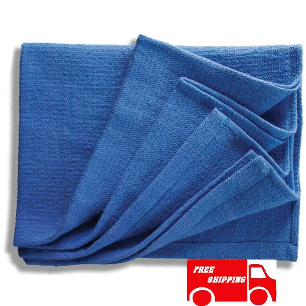 100 new blue glass cleaning shop towel huck towels ebay for Glass cleaning towels