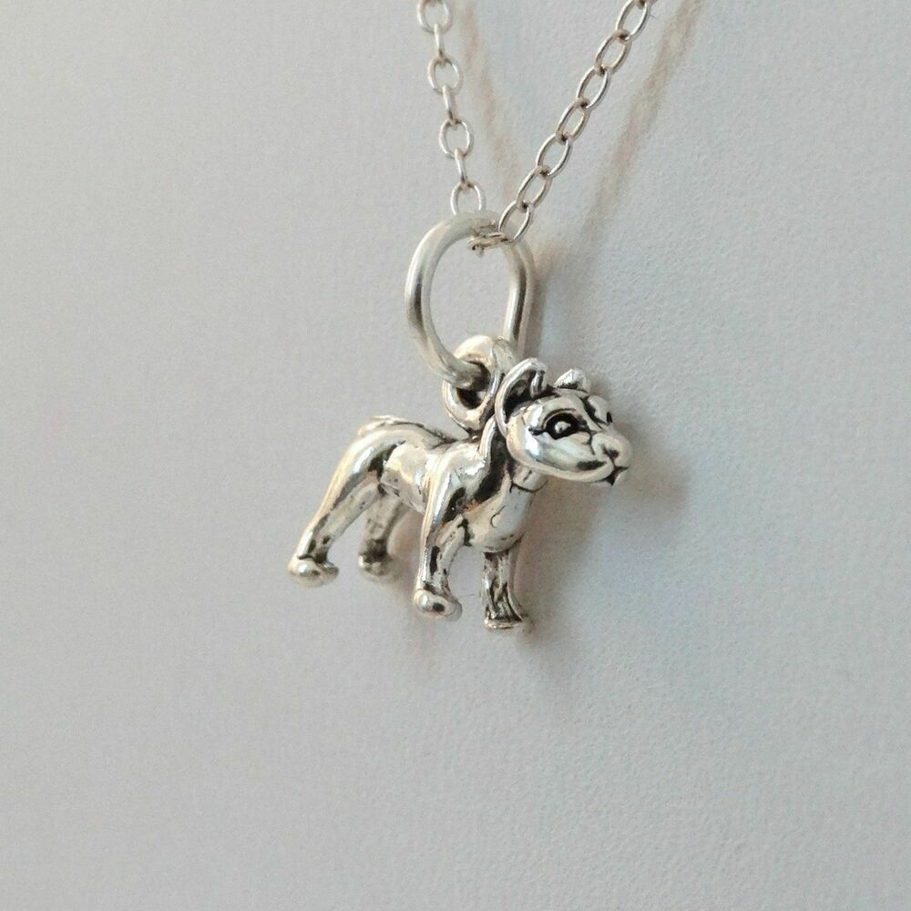 Tiny Pit Bull Necklace 925 Sterling Silver Pitbull Dog