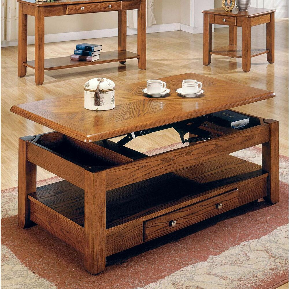 Logan Oak Lift-Top Cocktail Table Furniture Living Room ...