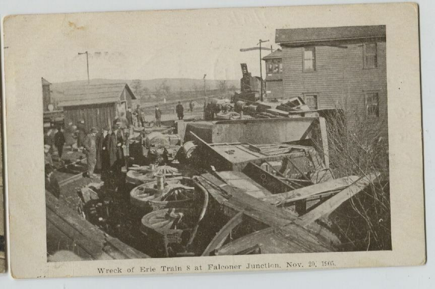 1905 Erie Rr Train Wreck Falconer Junction Ny Railroad