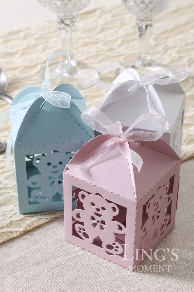 Baby Shower Favors Chocolate ~ X laser cut bear candy chocolate gift boxes baby