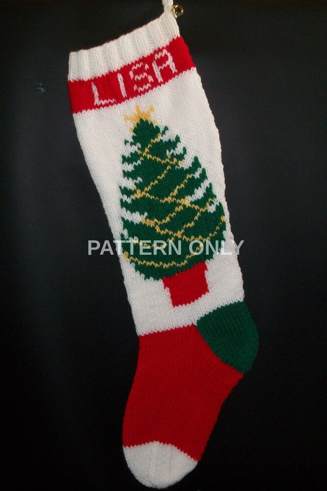 Pattern Only Hand Knitted Christmas Tree with Knitted Garland Stocking eBay