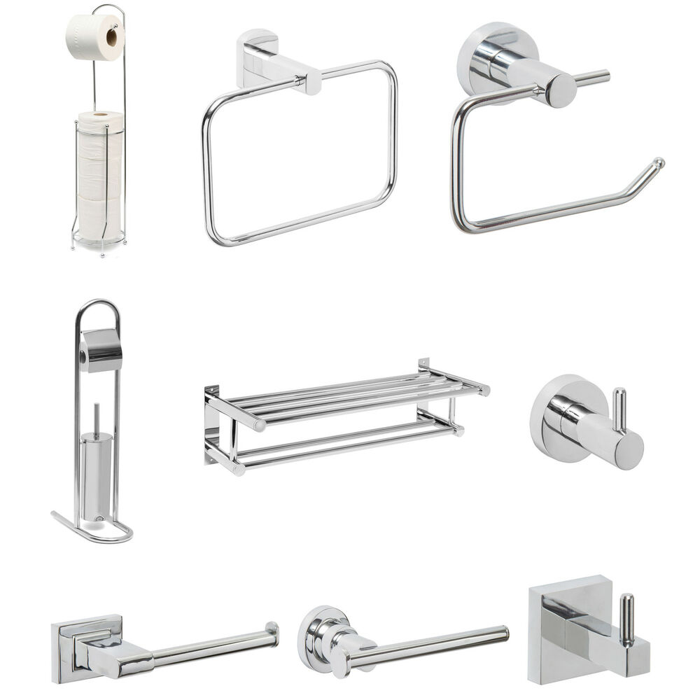 Bathroom accessories bath towel toilet roll holder chrome for Bathroom accessories stand