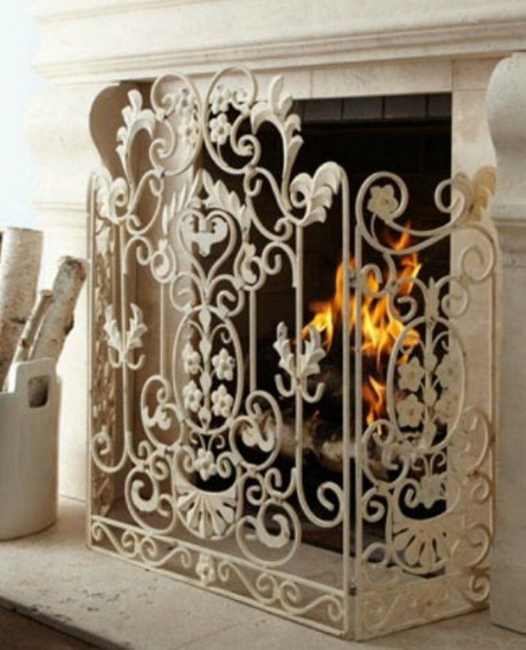 New neimanmarcus shabby floral chic scrol antique white Decorative fireplace screens