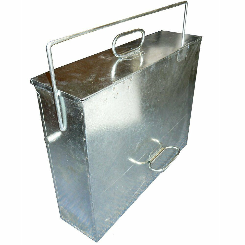 large galvanised metal ash tidy box carrier bucket fireplace