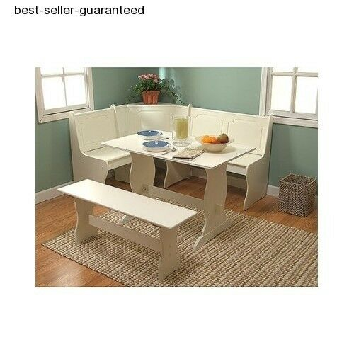 Corner dining set breakfast nook bench chair kitchen booth for Dining room tables booth style