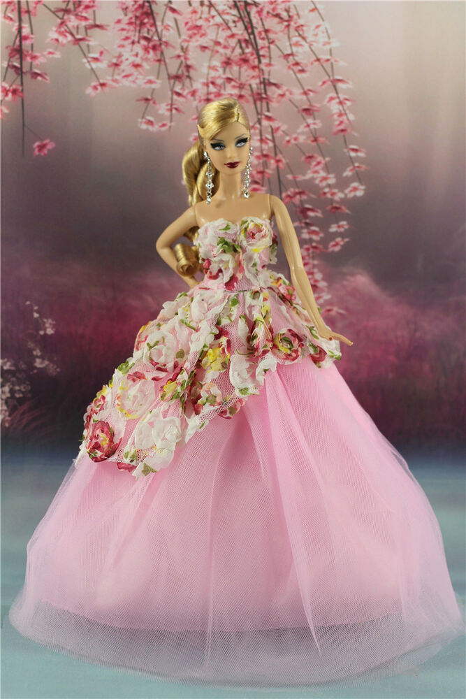 Pink Fashion Party Flower Dress Wedding Clothes Gown For