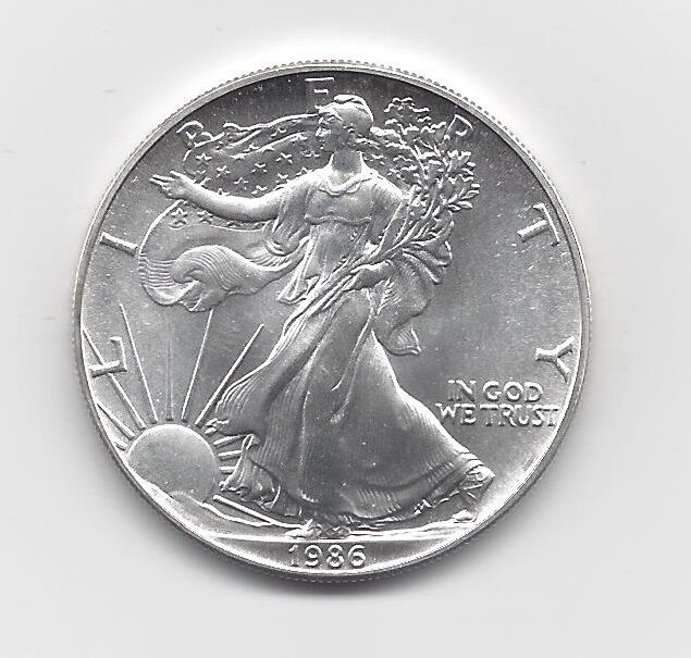1986 1 Oz American Silver Eagle Coin One Troy Oz 999