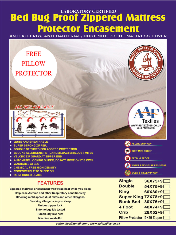 Lab tested bed bug mattress cover protector encasement for Bed bug approved mattress cover