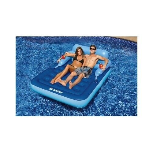 Inflatable float raft chair lounge swimming pool beach fun - Swimming pool floating lounge chairs ...