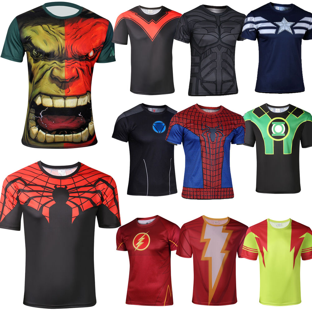 Mens marvel superhero costume t shirts batman hulk the for Costume t shirts online