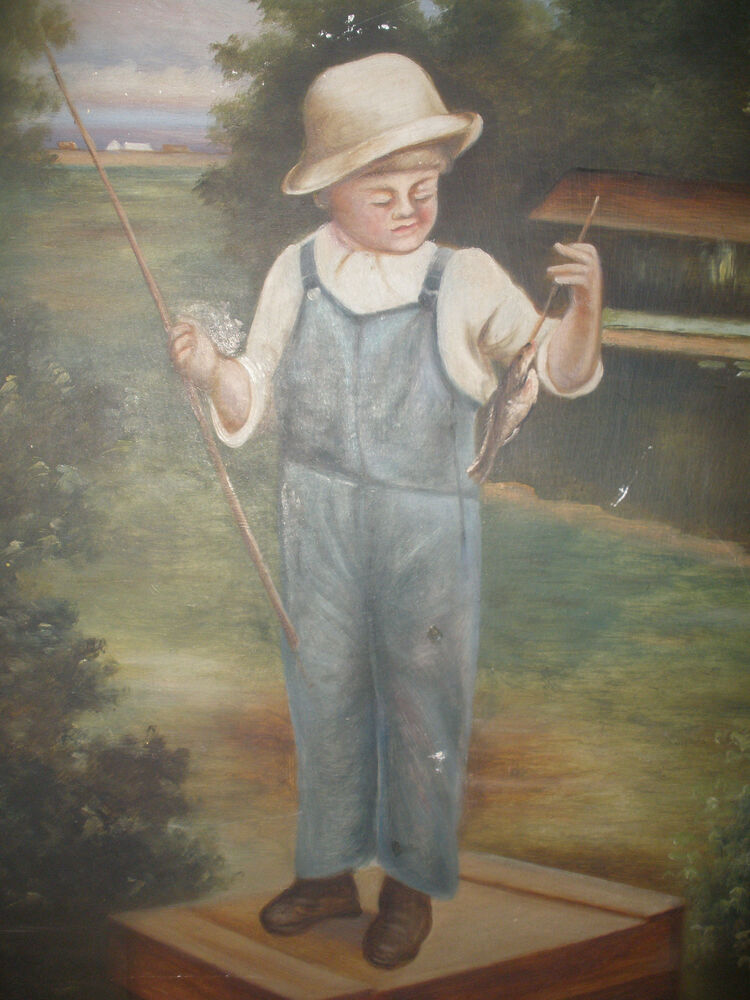 Antique Oil On Board Painting Primitive Boy With Fish
