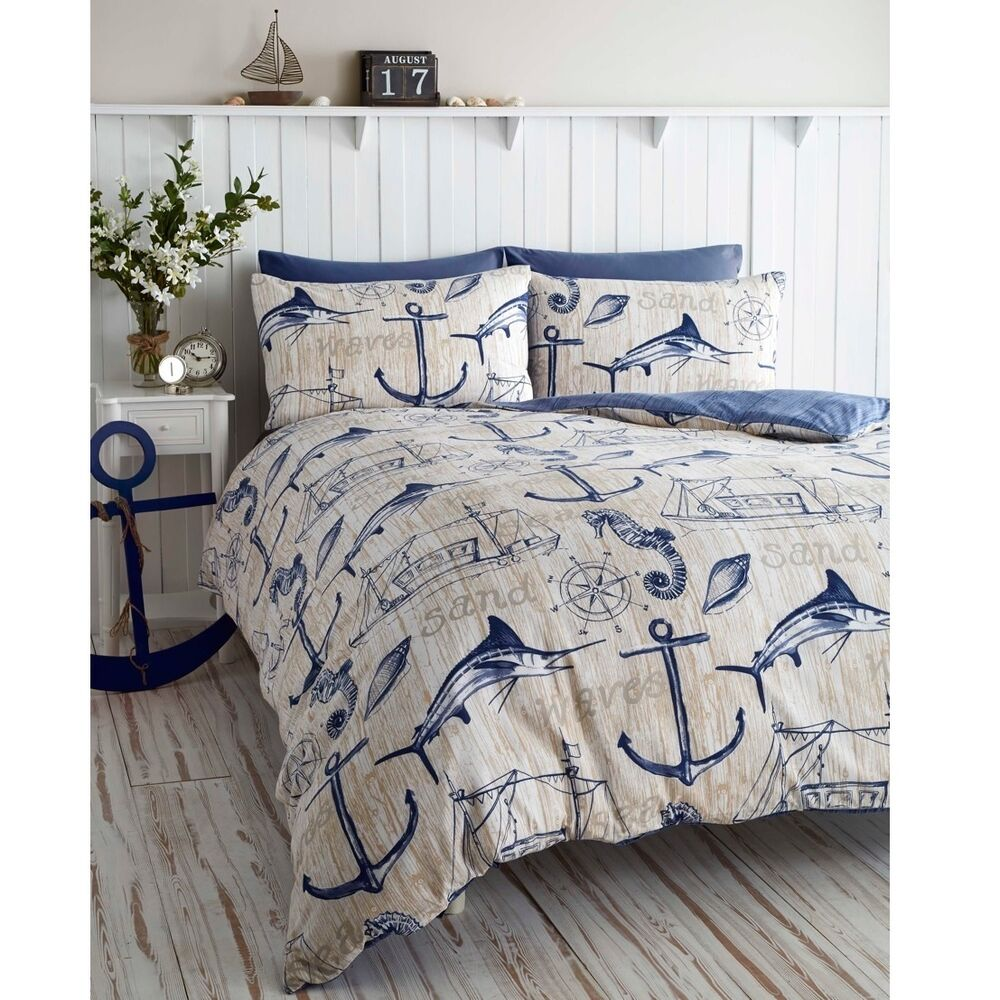 Wharf Boat Ship Waves Nautical Anchor King Duvet Quilt