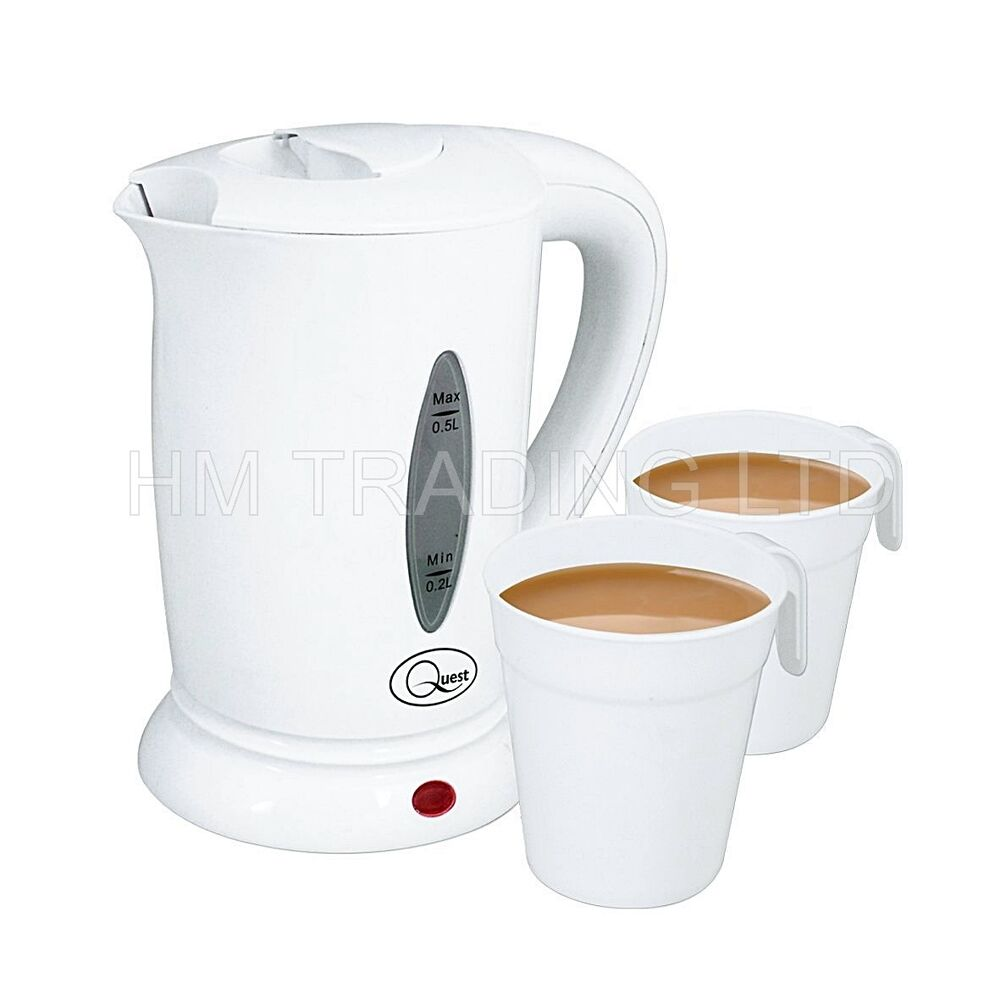 500ml electric travel kettle white with 2 cup compact. Black Bedroom Furniture Sets. Home Design Ideas