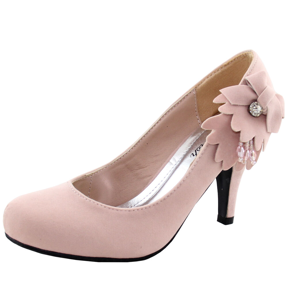 new s shoes pale pink suede like flower rhinestones