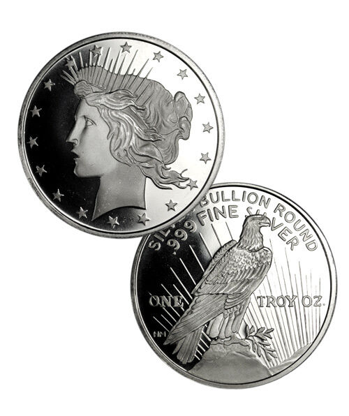 Peace Silver Dollar Design 1 Troy Ounce 999 Fine Silver