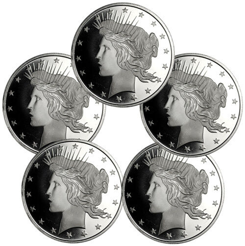 Lot Of 5 Peace Silver Dollar Design 1 Troy Ounce 999