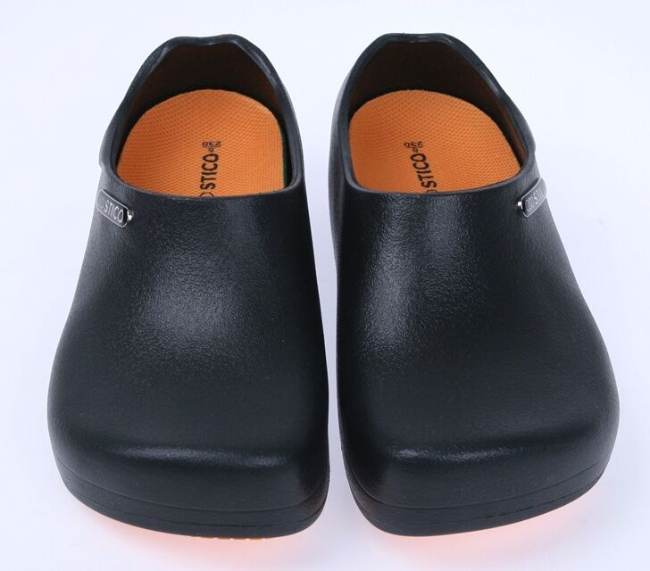 Comfort chef shoes non slip cushion black clog kitchen for Bathroom safety shower shoes