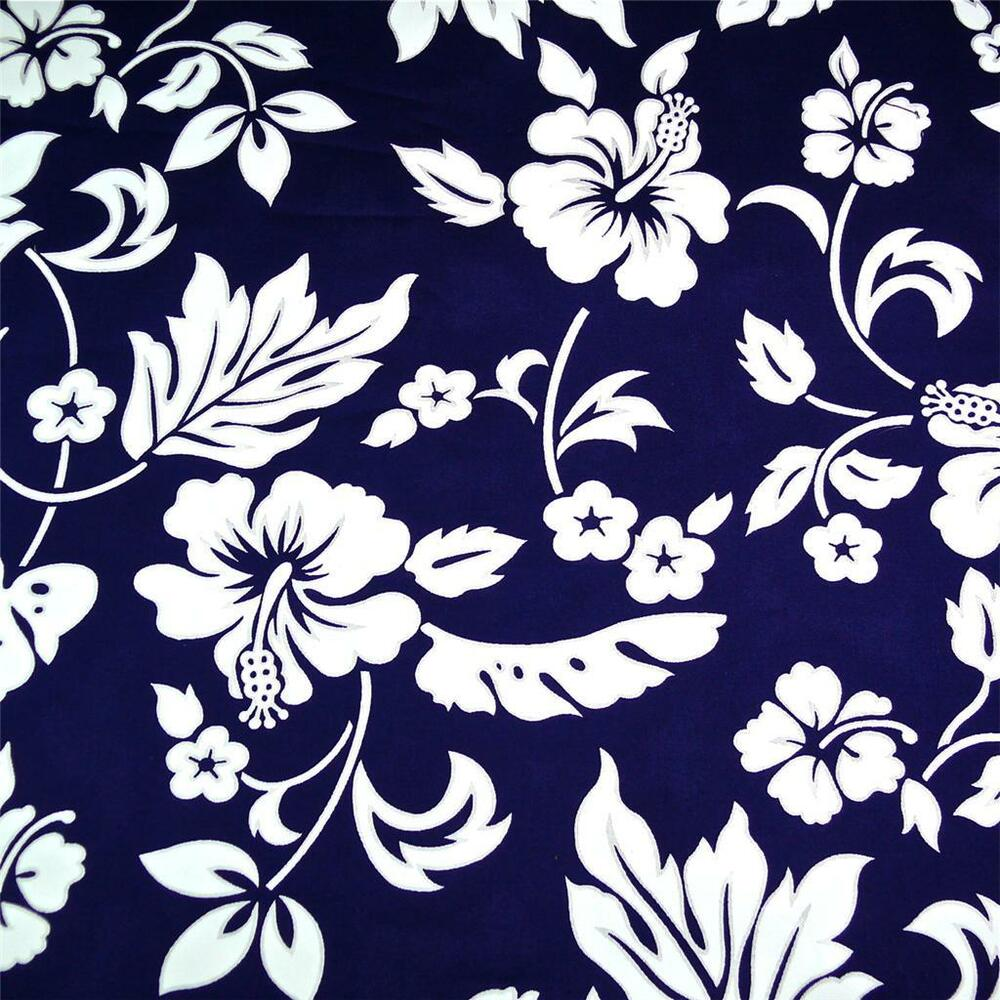 Traditional Hawaiian Print Cotton Fabric, White Kokio on ...