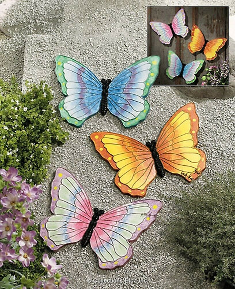 Butterfly Shaped Garden Stones Or Wall Fence Hanging 3 Pc