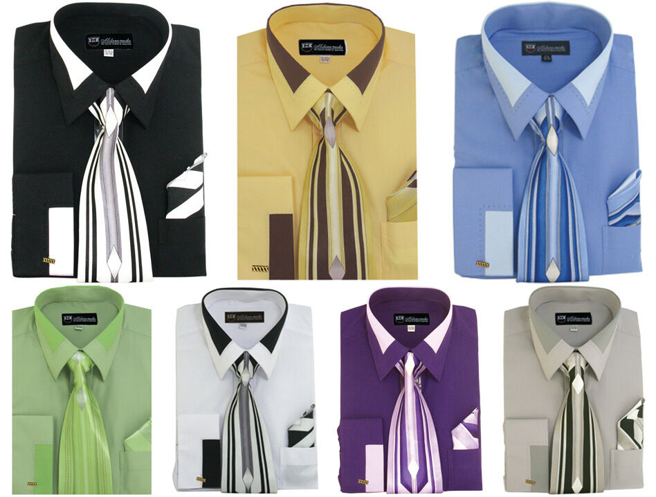 d51baa2bd Men's French Cuff Dress Shirt with Tie and Handkerchief 7 Colors ...