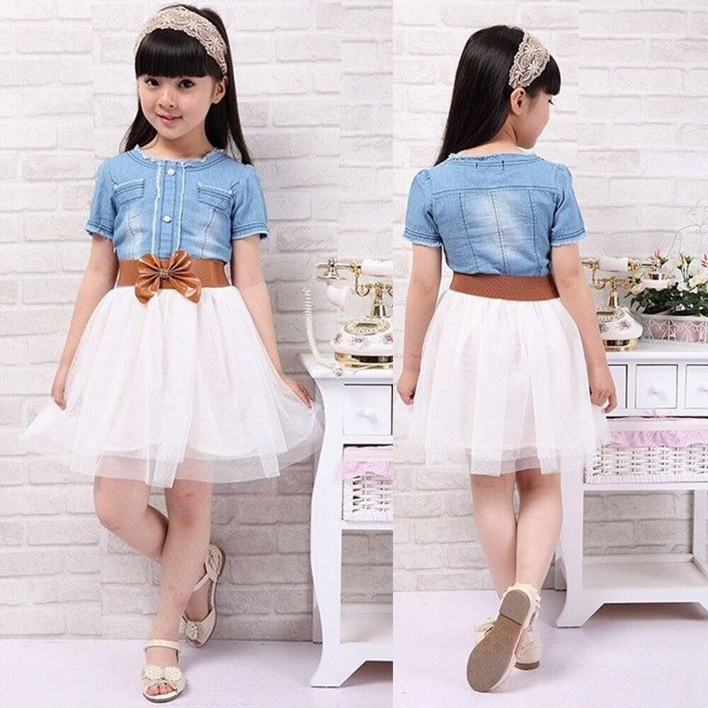 Nwt Baby Girls Dress Kids Princess Party Denim Tulle Bow