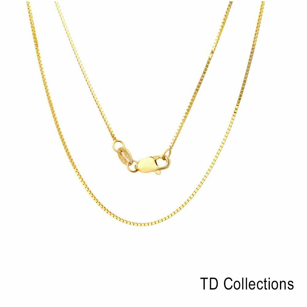 Solid y w gold italian box chain necklace lobster clasp 16 quot 24 quot ebay