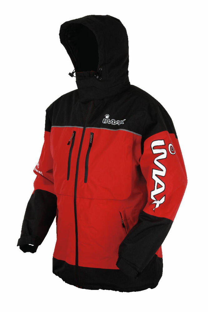 Imax thermo boat fishing jacket red black waterproof for Waterproof fishing clothing