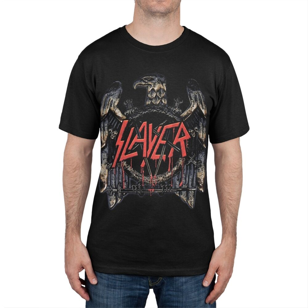 slayer eagle 2012 2013 world tour adult mens t shirt ebay. Black Bedroom Furniture Sets. Home Design Ideas