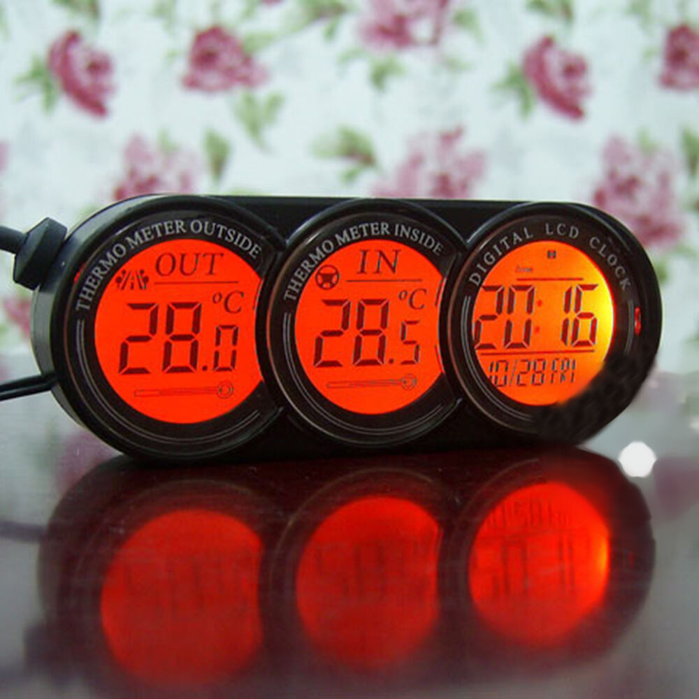 Vehicle Auto Car Inside Outside Digital Clock Thermometer Temperature Gauge Ebay