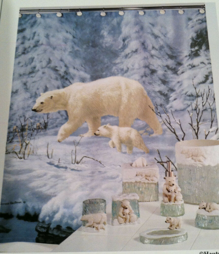 ... Collection Fabric Shower Curtain Arctic Arrival Blue Lodge | eBay