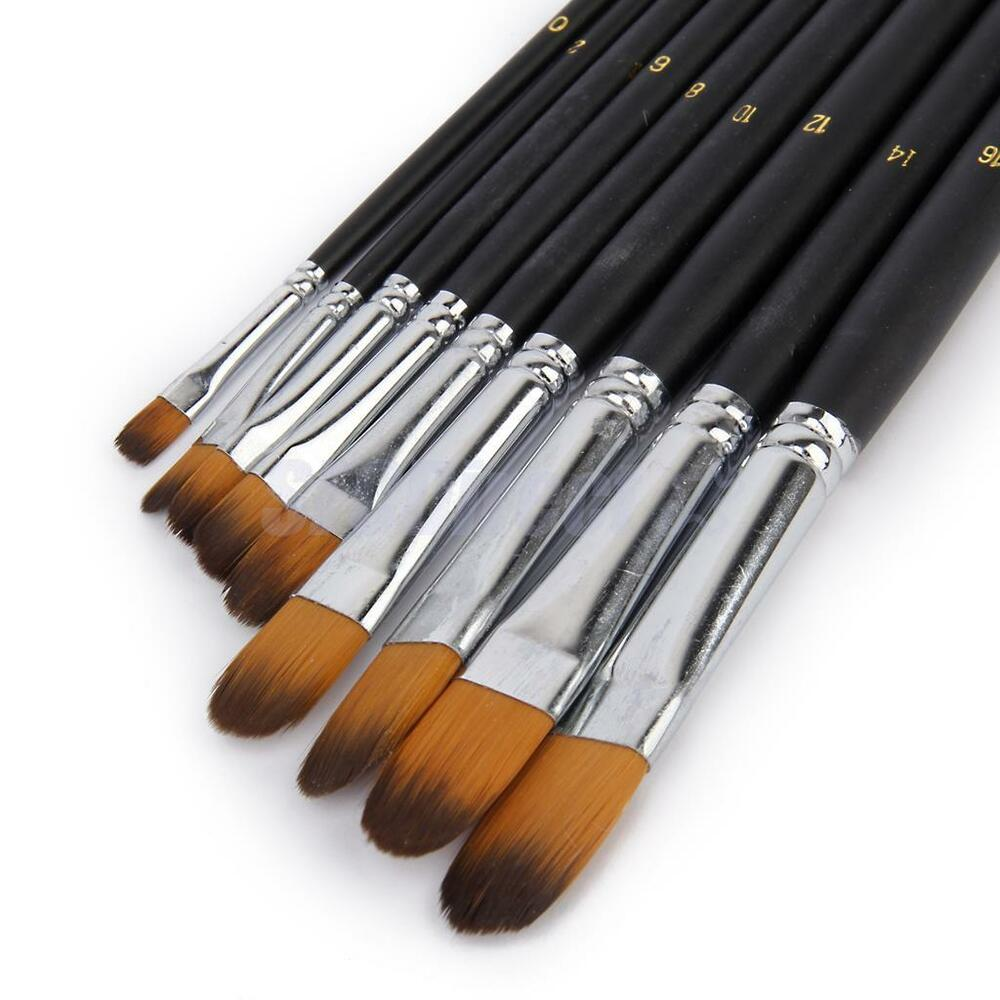 professional 9pc nylon paint brushes set for watercolor