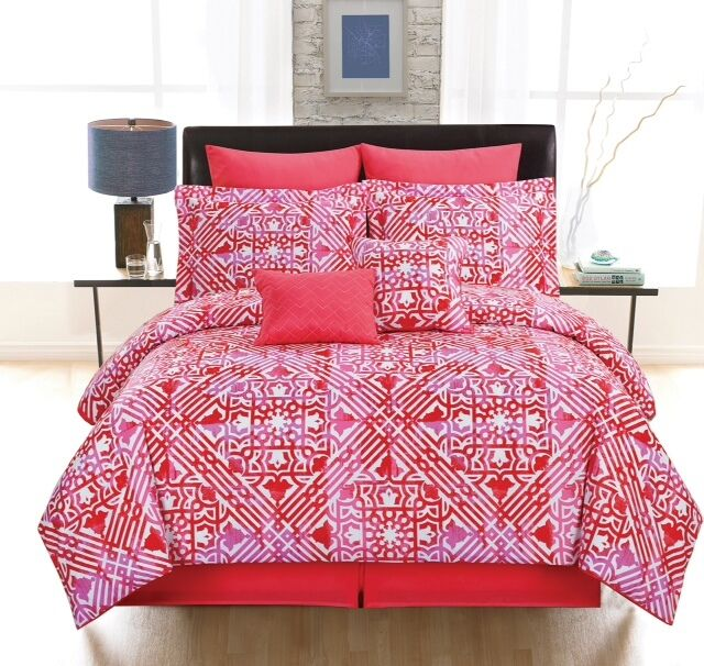 Tangiers queen red comforter 2 shams 2 euro shams 2 for King shams on queen bed