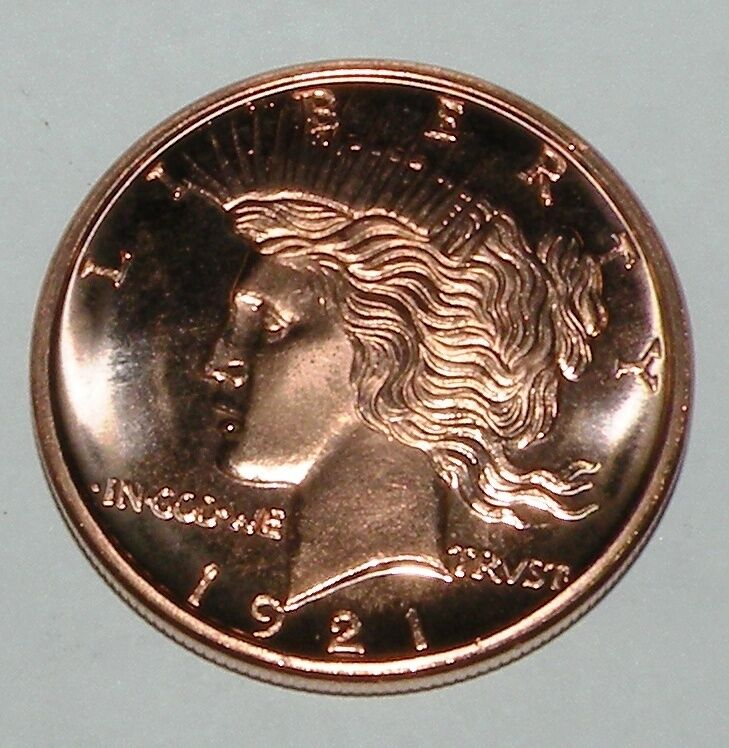 1921 Lady Liberty 1 Oz Of 999 Fine Copper Coin Ebay
