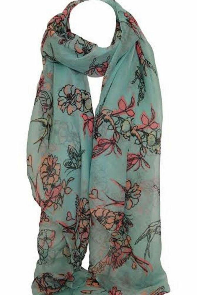 beautiful blue bird and floral print scarf stole wrap