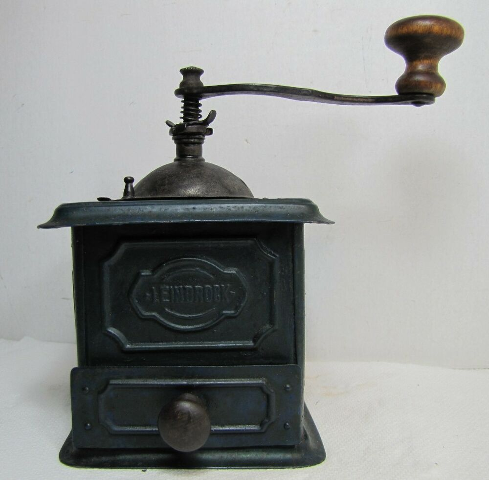 Old Coffee Grinders ~ Antique leinbrock coffee grinder mill small tin wood