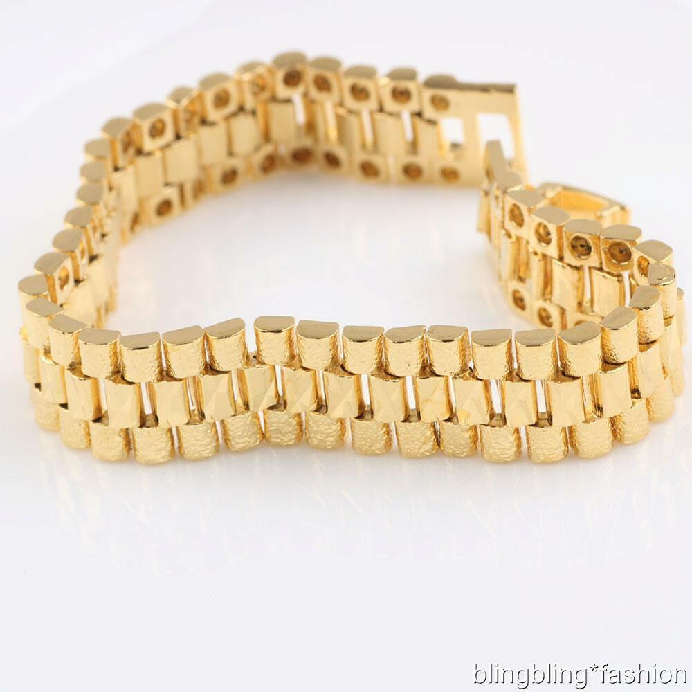 solid 24k yellow gold filled watchband chain bracelet for