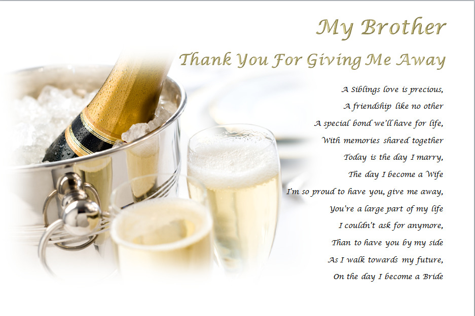 Me To You Wedding Gifts: MY BROTHER Thank You For GIVING ME AWAY- Personalised
